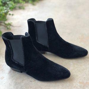 J Crew Black Velvet Chelsea Boots Booties